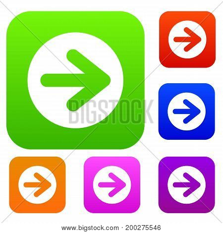 Arrow in circle set icon in different colors isolated vector illustration. Premium collection