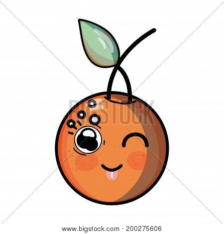 kawaii cute funny orange fruit vector illustration