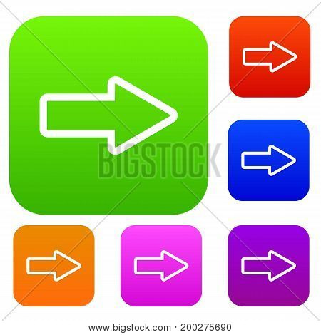 Cursor to right set icon in different colors isolated vector illustration. Premium collection
