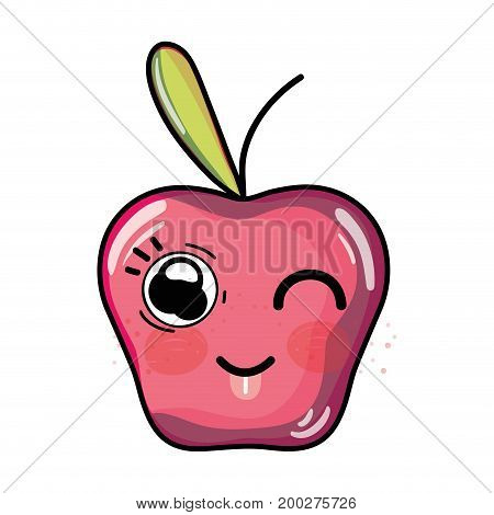 kawaii cute funny apple fruit vector illustration