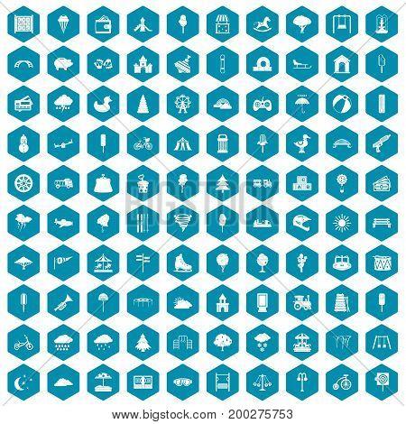 100 childrens park icons set in sapphirine hexagon isolated vector illustration