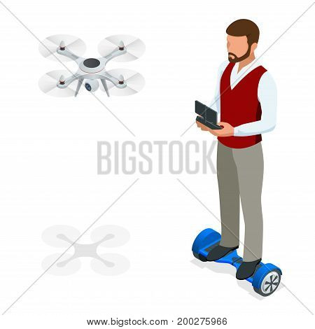 Isometric man with drone quadrocopter, Remote aerial drone with a camera taking photography or video recording. game sevremennaya, isometrics businessman on a Gyroscooter. Vector illustration.