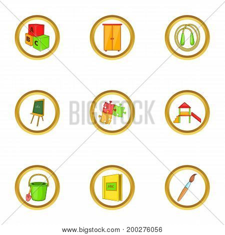 Preschool icons set. Cartoon illustration of 9 preschool vector icons for web design