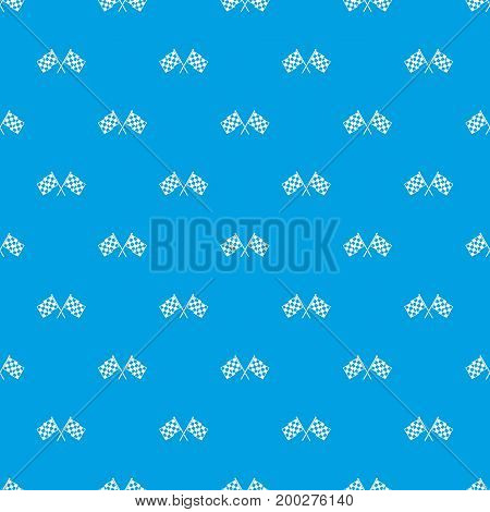 Checkered racing flags pattern repeat seamless in blue color for any design. Vector geometric illustration