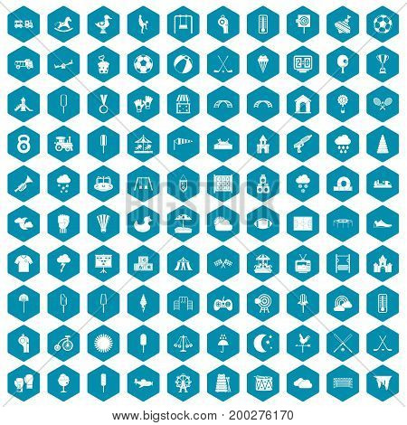 100 childrens playground icons set in sapphirine hexagon isolated vector illustration