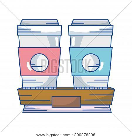 delicious coffe espresso plastic cup vector illustration