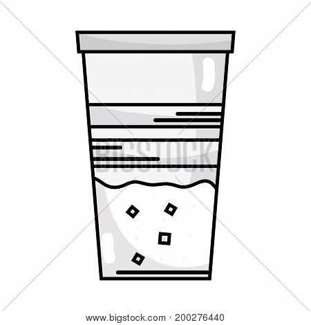 line delicious coffe espresso glass vector illustration icon