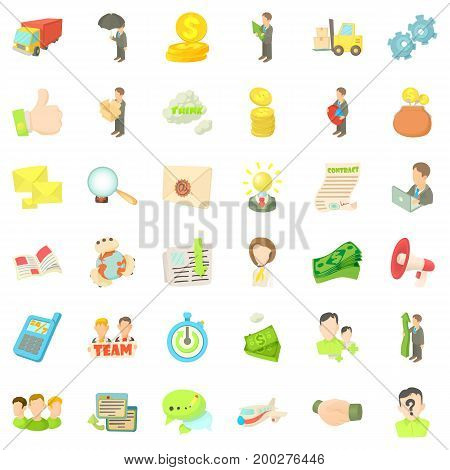 Business target icons set. Cartoon style of 36 business target vector icons for web isolated on white background