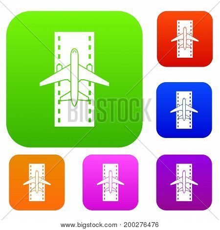 Airplane on the runway set icon in different colors isolated vector illustration. Premium collection
