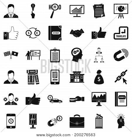 Business academy icons set. Simple style of 36 business academy vector icons for web isolated on white background
