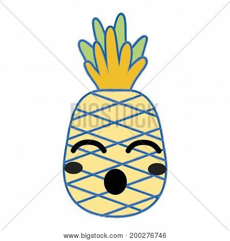 kawaii cute funny pineapple fruit vector illustration