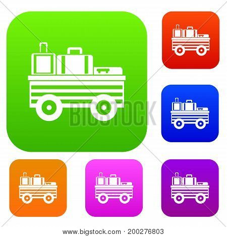 Service cart with luggage set icon in different colors isolated vector illustration. Premium collection