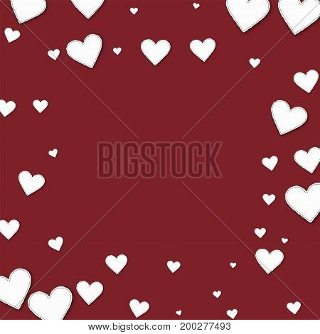 Cutout Paper Hearts. Square Scattered Frame On Wine Red Background. Vector Illustration.
