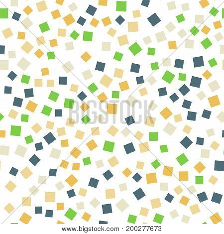 Abstract Squares Pattern. White Geometric Background. Cute Random Squares. Geometric Chaotic Decor.