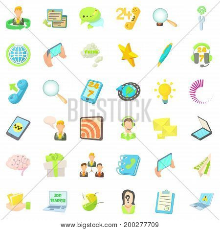 Contact us icons set. Cartoon style of 36 contact us vector icons for web isolated on white background