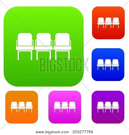 Chairs in the departure hall at airport set icon in different colors isolated vector illustration. Premium collection