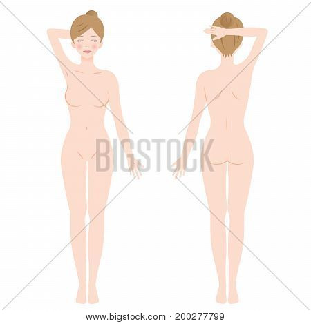 front and back view of standing female nude