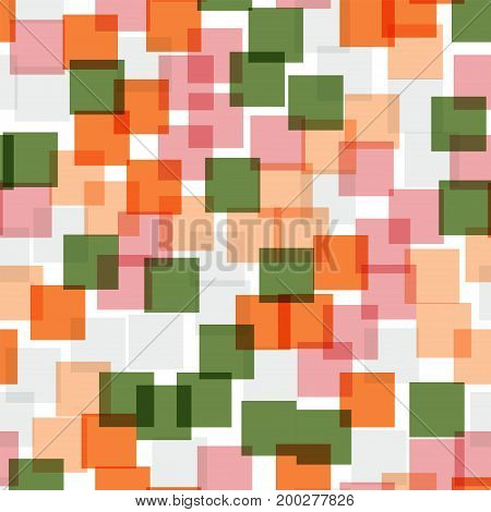 Abstract Squares Pattern. White Geometric Background. Great Random Squares. Geometric Chaotic Decor.