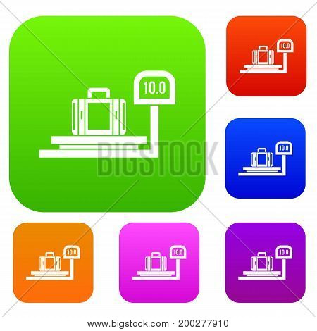 Luggage weighing set icon in different colors isolated vector illustration. Premium collection
