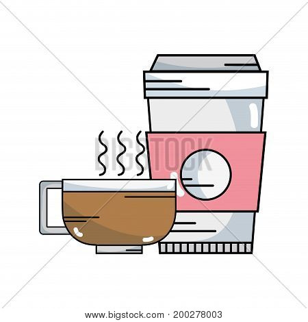 tasty coffee espresso plastic cup vector illustration