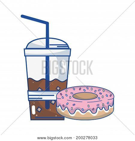 delicious donut with coffee plastic cup vector illustration