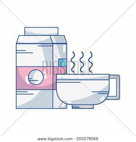 delicious coffee cup with milk box vector illustration