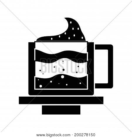 contour tasty espresso coffe cup vector illustration icon