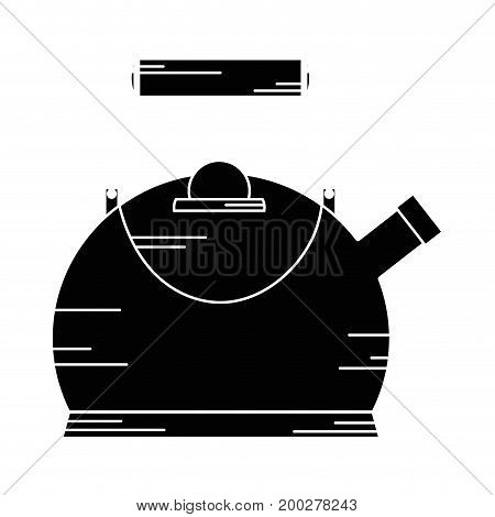 contour classical and elegant teapot kitchen utensil vector illustration