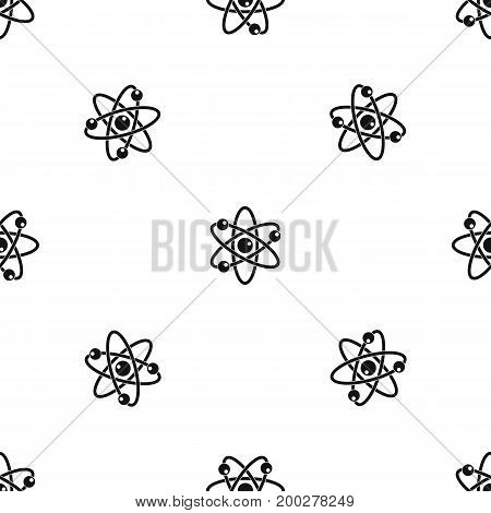 Atom with electrons pattern repeat seamless in black color for any design. Vector geometric illustration