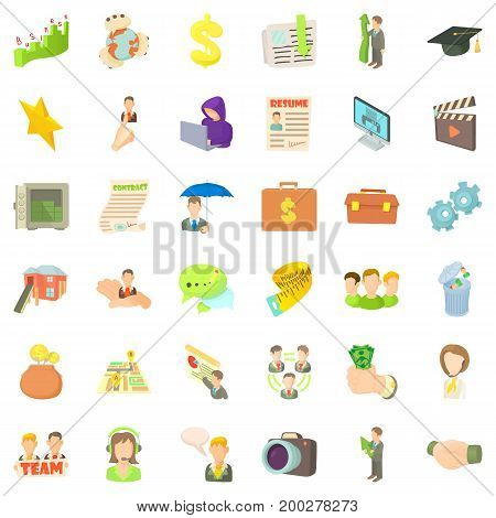 Team career icons set. Cartoon style of 36 team career vector icons for web isolated on white background