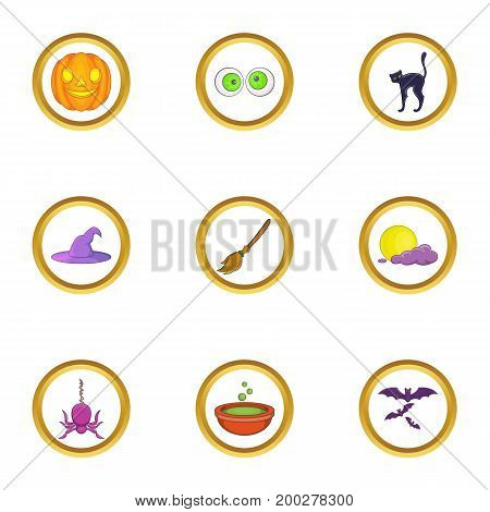 All saints day icon set. Cartoon style set of 9 all saints day vector icons for web isolated on white background