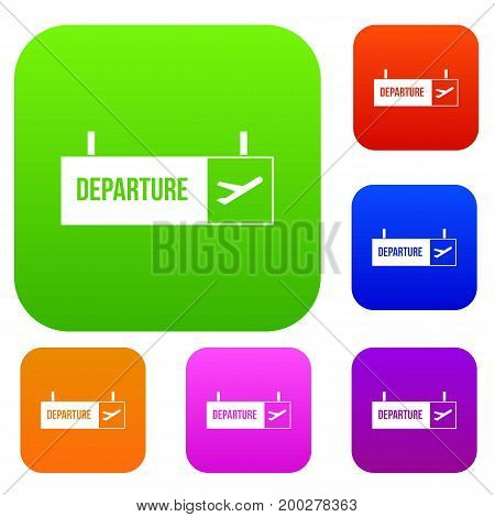Airport departure sign set icon in different colors isolated vector illustration. Premium collection