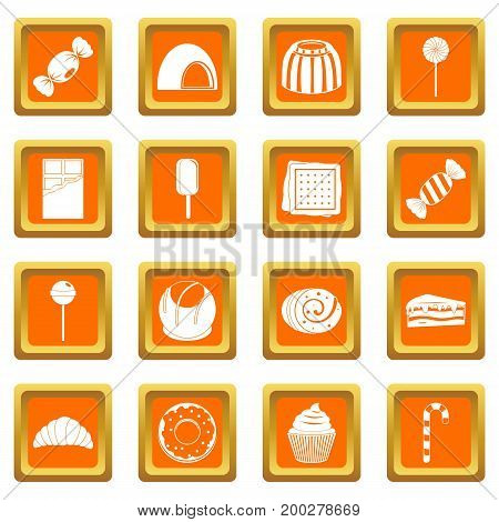 Sweets and candies icons set in orange color isolated vector illustration for web and any design