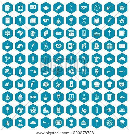 100 coffee icons set in sapphirine hexagon isolated vector illustration
