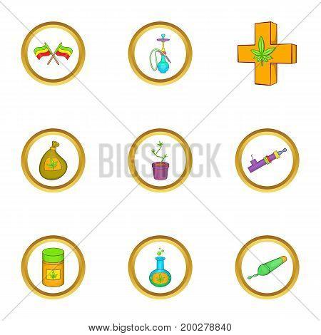 Marijuana smoking icon set. Cartoon style set of 9 marijuana smoking vector icons for web isolated on white background
