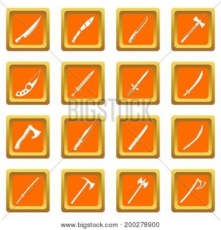 Steel arms symbols icons set in orange color isolated vector illustration for web and any design
