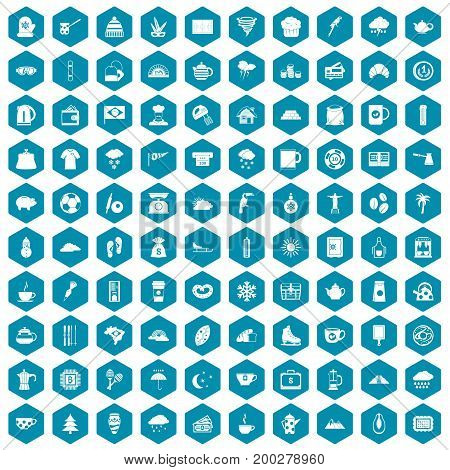 100 coffee cup icons set in sapphirine hexagon isolated vector illustration