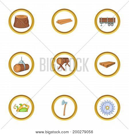 Logging icon set. Cartoon style set of 9 logging vector icons for web isolated on white background