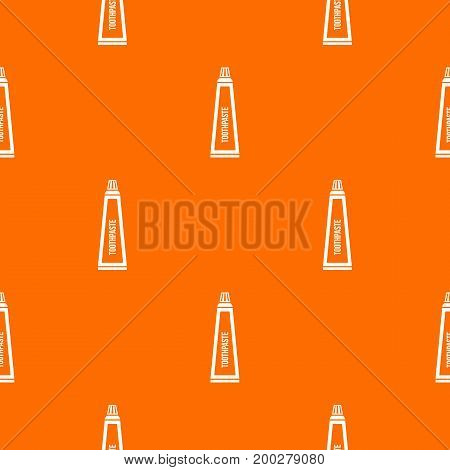 Toothpaste in tube pattern repeat seamless in orange color for any design. Vector geometric illustration