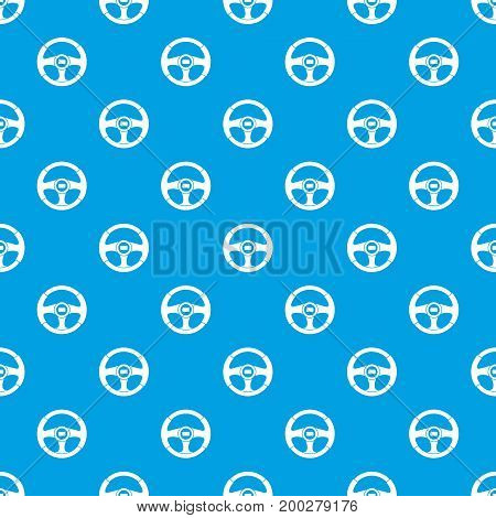 Car steering wheel pattern repeat seamless in blue color for any design. Vector geometric illustration