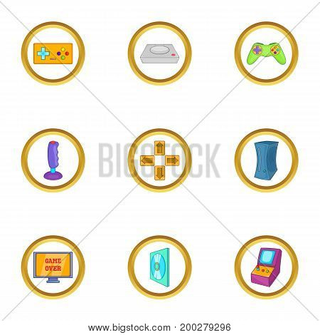 Game equipment icon set. Cartoon style set of 9 game equipment vector icons for web isolated on white background