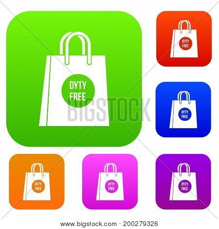 Duty free shopping bag set icon in different colors isolated vector illustration. Premium collection