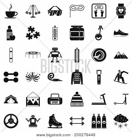 Children walking icons set. Simple style of 36 children walking vector icons for web isolated on white background