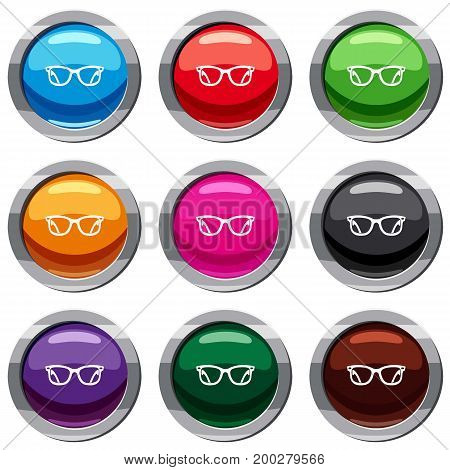 Eyeglasses set icon isolated on white. 9 icon collection vector illustration