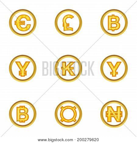 Money of countries icon set. Cartoon style set of 9 money of countries vector icons for web isolated on white background