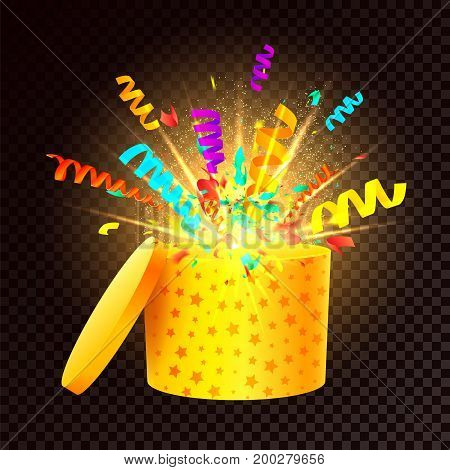 Festive magic box on a transparent background. An open 3d gift box with a blast of confetti and light effects. Surprise box Icon. Gift box for a birthday or Christmas holidays. Vector illustration