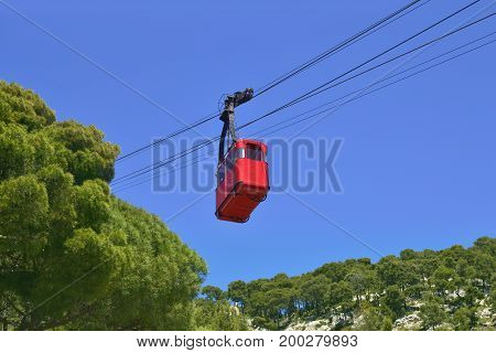 Cable car in front of the blue sky. Toulon France