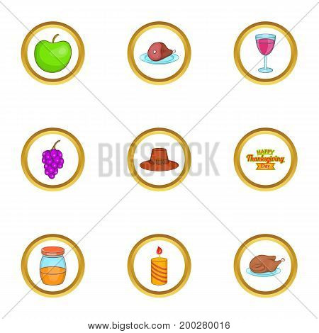 Thanksgiving day icons set. Cartoon illustration of 9 thanksgiving day vector icons for web design