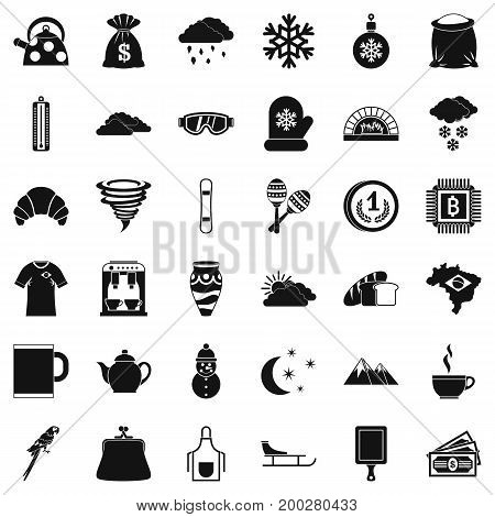 Hard coffee icons set. Simple style of 36 hard coffee vector icons for web isolated on white background