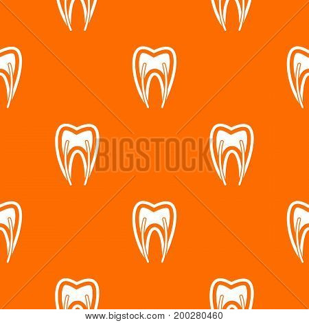 Tooth cross section pattern repeat seamless in orange color for any design. Vector geometric illustration